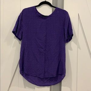Equipment Femme purple eyelet shirt